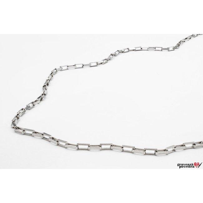 Lant supliment Paper Link Argint 925 rodiat (55 cm - 60 cm - 65 cm)