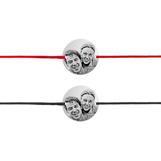 Bratari snur cuplu banut 17 mm personalizate gravura foto Argint 925 rodiat