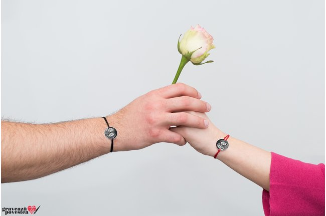 Bratari snur cuplu banut 19 mm personalizate gravura foto Argint 925 rodiat