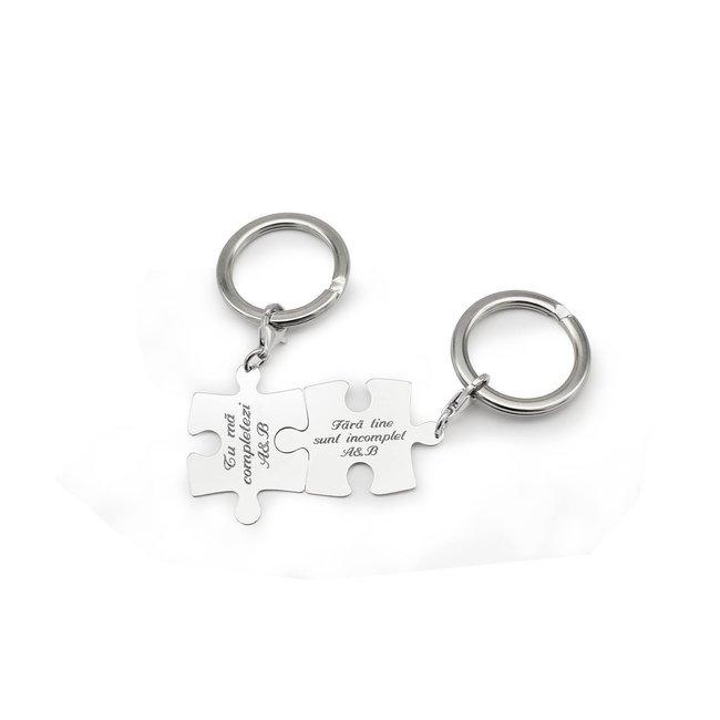Brelocuri cuplu puzzle 35 mm personalizate gravura text Argint 925 rodiat