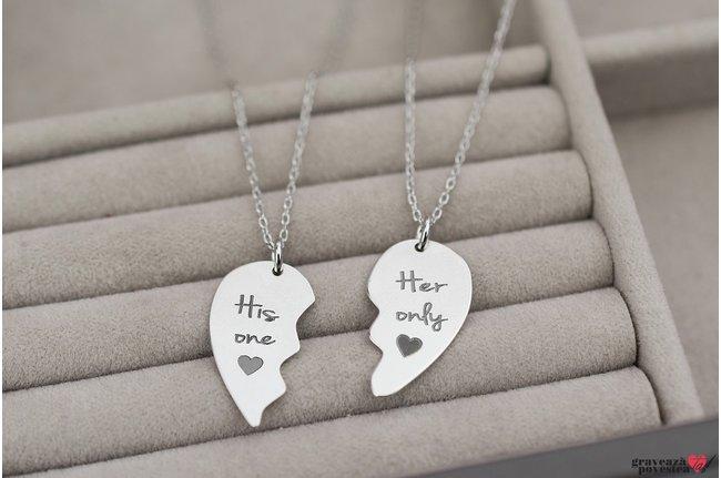 Coliere prietenie jumatati inima 21 mm personalizate gravura text Argint 925 rodiat