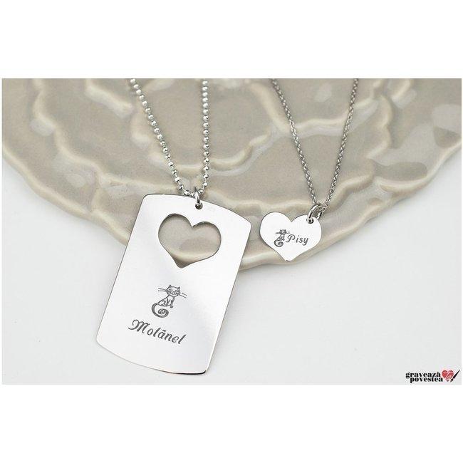 Coliere cuplu placuta si inima 38 mm personalizate gravura text Argint 925 rodiat