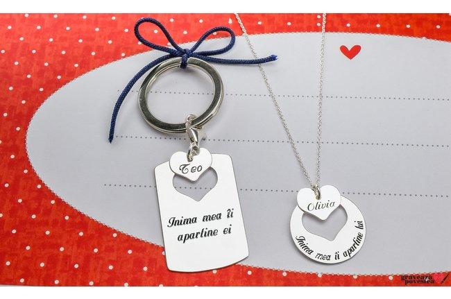 Colier si breloc cuplu placuta cu inima decupata personalizate gravura text Argint 925 rodiat