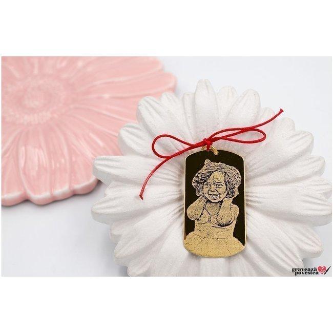 Pandantiv placuta Army 50 mm personalizata gravura foto Argint 925 placat cu aur