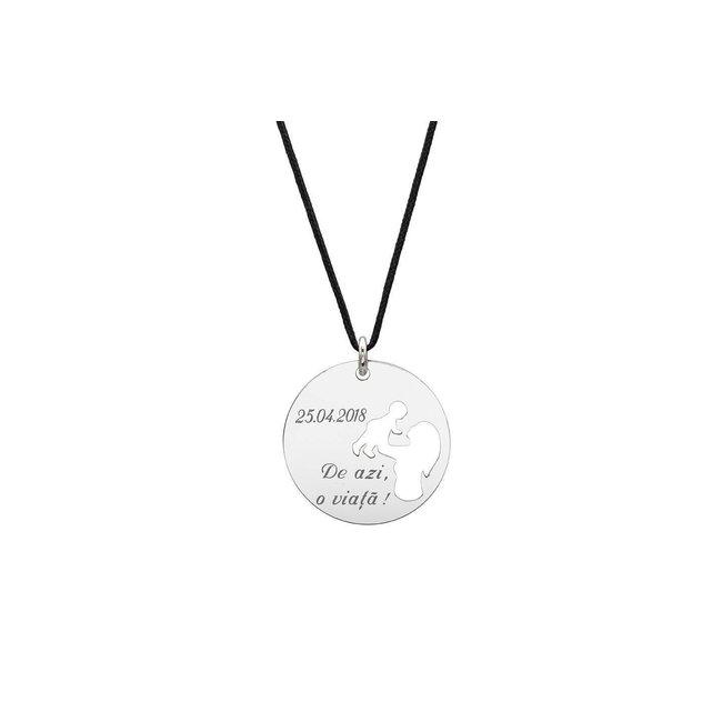 Pandantiv banut mama si copil decupati 19 mm personalizat gravura text Argint 925 rodiat