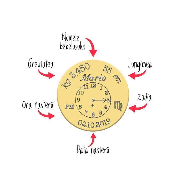 Pandantiv ceasul bebelusului banut 15 mm personalizat gravura foto Aur 14K
