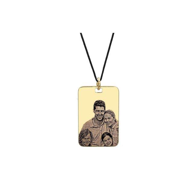 Pandantiv placuta 30 mm personalizat gravura foto Argint 925 placat cu aur