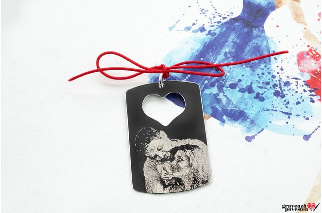 Pandantiv placuta inima decupata 38 mm personalizata gravura foto Argint 925 rodiat