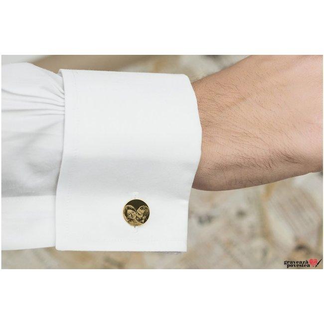 Butoni camasa banut 15 mm personalizati gravura foto Argint 925 placat cu aur