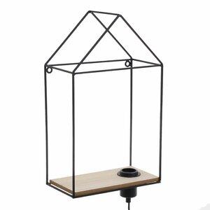 Antim Raft perete cu lampa, Metal, Negru