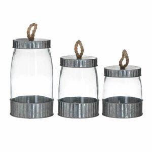 Berny Set 3 suporturi lumanare, Sticla, Argintiu