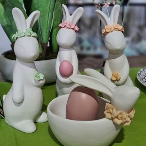 Bunny Set 3 decoratiuni iepure, Portelan, Alb