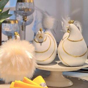 Chicken Set 2 decoratiuni gaini, Polirasina, Alb