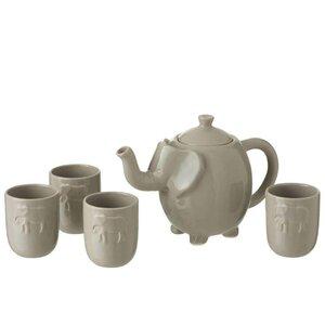Elephant Set Ceainic cu 4 cesti, Ceramica, Gri