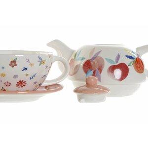 Flower Set ceainic 4 piese, Ceramica, Alb