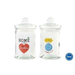 Home Set 2 borcane cu capac, Sticla, Transparent