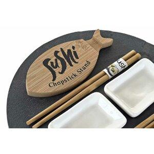 Izan Set servire sushi 9 piese, Lemn, Bej