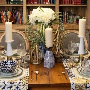 Leah Suport lumanare mic, Ceramica, Albastru