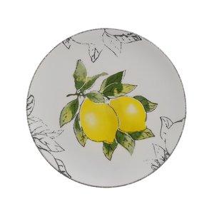 Lemon Set 6 Farfurii desert, Ceramica, Alb