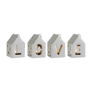Love House Set 4 suport lumanari , Portelan, Argintiu