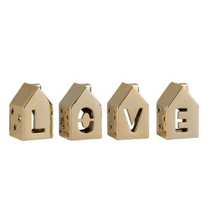 Love House Set suport lumanari, Portelan, Auriu