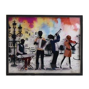 Music Tablou cantareti, Lemn, Multicolor