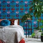 Neon Kiss Blue Set 3 role tapet, Netesut, Multicolor