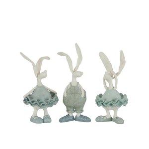Rabbit Dancing Set 3 decoratiuni, Polirasina, Albastru