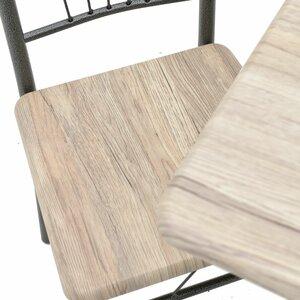 Rustic Set masa si 4 scaune, Metal, Negru