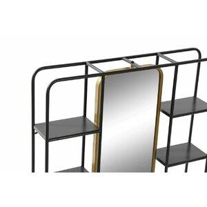 Shel Raft perete cu oglinda, Metal, Negru