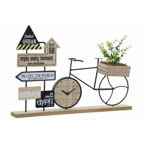 Urban Decoratiune bicicleta Ceas, MDF, Maro