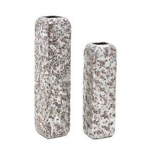 Vasquez Set 2 vaze, Ceramica, Argintiu