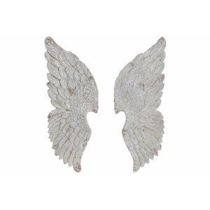 Wings Set 2 decoratiuni perete aripi, Fibra sticla, Alb