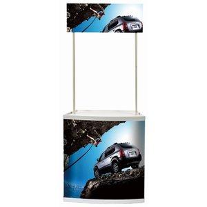 Masă din PVC pentru promoții MacroVision, blat trapezoidal