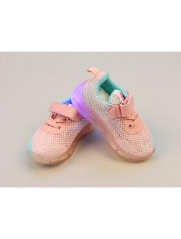Adidasi cu led plasa roz-verde