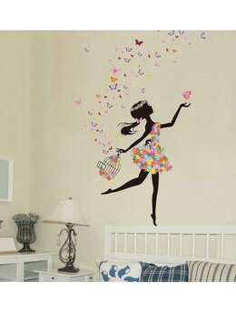 Autocolant de perete fetiță-fluturai 130x172cm