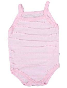 Body fetita cu bretele si volanse mici model roz