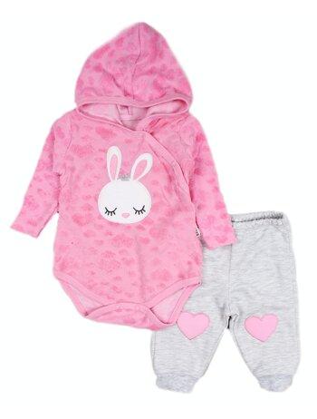 Compleu 2 piese roz aprins Bunny
