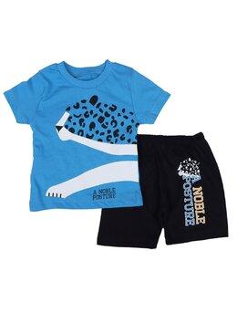 Compleu leopard albastru 2 piese