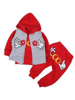 Compleu Mickey cu vesta model roșu