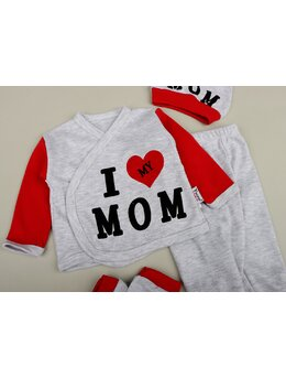 Costumas 4 piese I Love MOM rosu