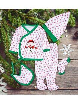 Costumas 5 piese alb stelute mici imprimeu Om de zapada