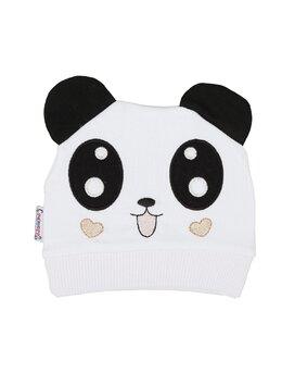 Fes bumbac panda model alb-inimioare maro