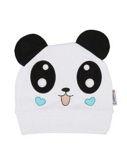 Fes bumbac panda model alb-inimioare turcoaz