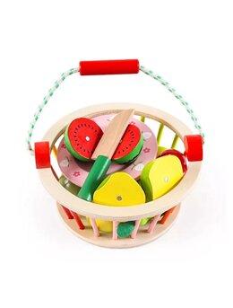 Jucarie lemn feliere Cosuletul cu Fructe colorate