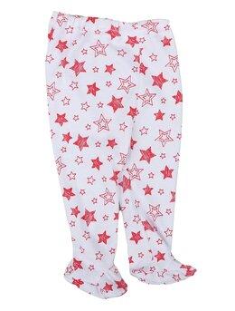 Pantaloni cu botosei albi cu stele roșii