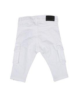 Pantaloni de blug pătați cargo alb