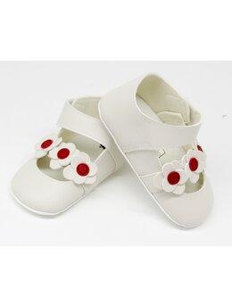 Pantofiori eleganti fetite cu floricele model alb cu floricele rosii