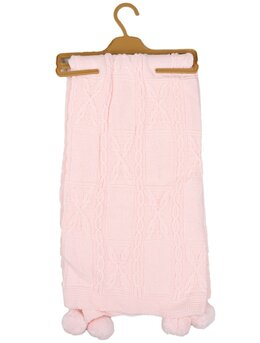 Patura croset cu ciucurasi model roz