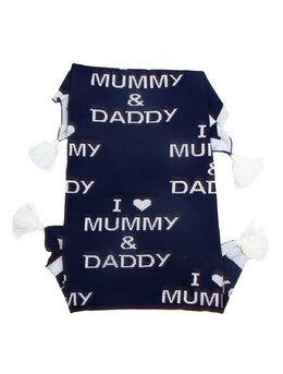 Patura crosetata I Love MUMMY & DADDY bleumarin